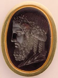 """Gillas, """"Head of Olympic Zeus of Phidias,"""" sardonyx,  1st Century BCE"""