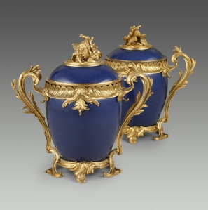 Pair of deep blue Chinese porcelain jars with French gilt-bronze mounts, 1700–49.