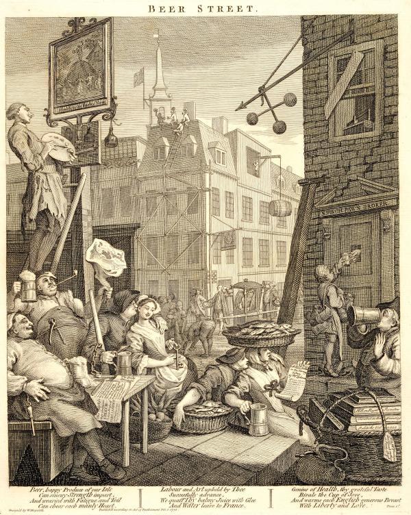 cerveza Street William Hogarth Fine Art Print//cartel