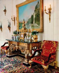 In the foyer, a vignette of Meissen figures sits beneath a Canaletto painting.Read more: Ann Getty's San Francisco Home - Pictures from Ann Getty's San Francisco Home - Harper's BAZAAR