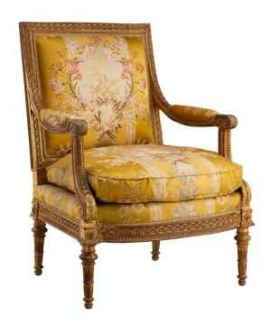 eorges Jacob (1739–1814); gilder: Louis–François Chatard (ca. 1749–1819). Armchair from Louis XVI's Salon des Jeux, Château de Saint-Cloud. French (Paris), 1788. Carved and gilded walnut; gold brocaded silk. The Metropolitan Museum of Art, Gift of J. Pierpont Morgan, Gift of J. Pierpont Morgan, 1906 (07.225.107).