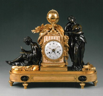 Clock with Study and Philosophy, movement by Renacle-Nicolas Sotiau, figures after Simon-Louis Boizot, ca. 1785−90, patinated and gilt bronze, marble, enameled metal, and glass, H.: 22 inches, Horace Wood Brock Collection