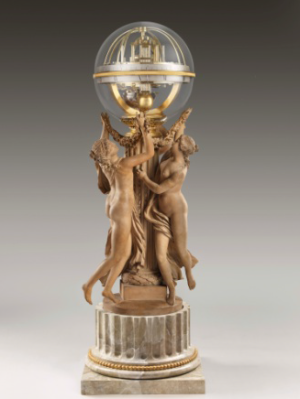 The Dance of Time, Three Nymphs Supporting a Clock, movement by Jean-Baptiste Lepaute (1727–1802), sculpture by Claude Michel Clodion (1738–1814), 1788, terracotta, gilt brass, and glass,H.: 40 3/4 inches, The Frick Collection, New York, bequest of Winthrop Kellogg Edey; photo: Michael Bodycomb