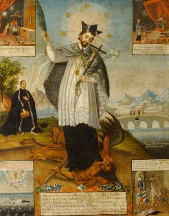 Saint John of NepomukGaspar Miguel de Berrío (Bolivian, 1706 - after 1764)1760Oil on canvas40 9/16 x 32 5/16 inches (103 x 82 cm)Promised gift of the Roberta and Richard Huber Collection