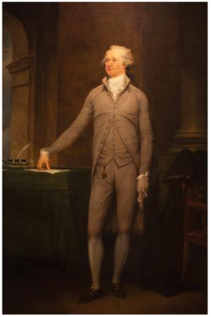 John Trumbull, Portrait of Alexander Hamilton, 1792. Oil on canvas, 86-1/4 x 57-1/2 in. (219.1 x 146.1 cm). Courtesy of Crystal Bridges Museum of American Art.