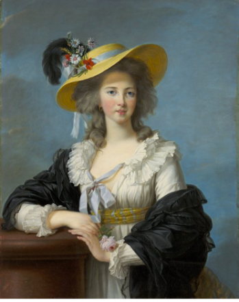 Elisabeth-Louise Vigée Le Brun (1755–1842), The Duchesse de Polignac Wearing a Straw Hat, 1782. oil on canvas. 35 3/4 x 27 3/4 in. Collection of Wadsworth Atheneum Museum of Art, Hartford, CT. The Ella Gallup Sumner and Mary Catlin Sumner Collection Fund. Acquired in honor of Kate M. Sellers, Eighth Director of the Wadsworth Atheneum, 2000–2003, 2002.13.1