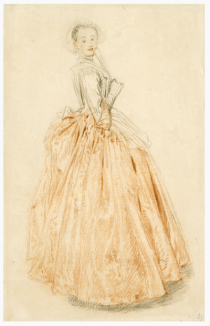 Antoine Watteau, Standing Woman Holding a Fan, about 1719. Red and black chalk, with graphite, on paper. Lent by Dr. Esmond Bradley Martin.