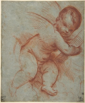 Circle of Titian (c.1485/80-1576), Putto holding the base of a cross. Metropolitan Museum of Art, New York (Rogers Fund, 1911).
