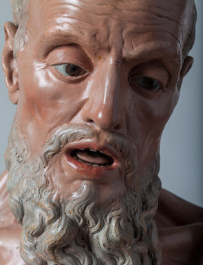 Juan Alonso Villabrille y Ron (Spanish, c. 1663-1732), St. Paul the Hermit (detail), c. 1715, terracotta. Meadows Museum, SMU, Dallas.
