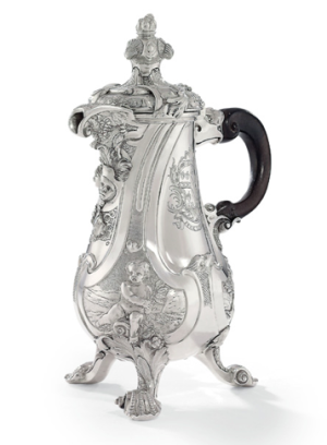 George II Silver Coffee-Pot, Mark of Paul de Lamerie, 1738. 10 3/4 in. (27.3 cm.) high. The arms are those of Lequesne impaling Knight, for Sir John Lequesne (1687-1741) and his wife Mary, née Knight, whom he married in 1738. Estimate: £3.5 million – 4.5 million. Photo: Christie's Images Ltd 2013.