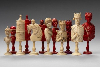 Dieppe Europeans vs. Africans Ivory Set, c 1800  Dieppe, France Ivory King: 3 1/4 in. Photo © Bruce M. White, 2013