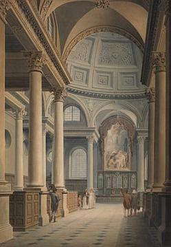 Thomas Malton (1748-1804), St Stephen Walbrook, London, watercolour over pencil, heightened with scratching out 26  x 18 inches (646 x 447 mm), Lowel Libson LTD (London).