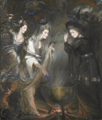 "Daniel Gardner, ""The Three Witches from Macbeth (Elizabeth Lamb, Viscountess Melbourne; Georgiana, Duchess of Devonshire; Anne Seymour Damer),"" pastel on paper, 1775 (London: NPG)"