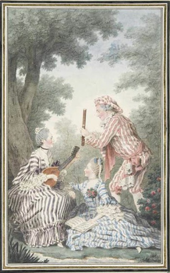 Mme de Meaux, Mlle de Meaux sa fille, et Mr de Saint-Quentin, artiste, répétants leur rôle pour un opéra-comique 1758