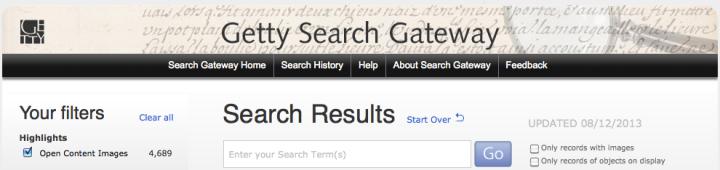 Getty Search Gateway banner