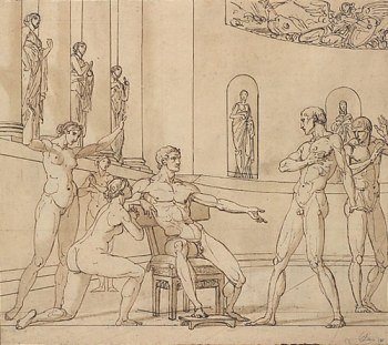François André Vincent, The Clemency of Augustus (Corneille, Cinna, V, 3) (recto); Knight Restraining a Female Figure (verso), 1788 (New York: Metropolitan Museum of Art)