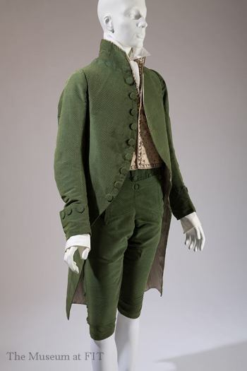 Man's three piece silk velvet suit, 1790-1800, France. Museum purchase, 2010.98.1. © 2013 The Museum at FIT Photo by Eileen Costa