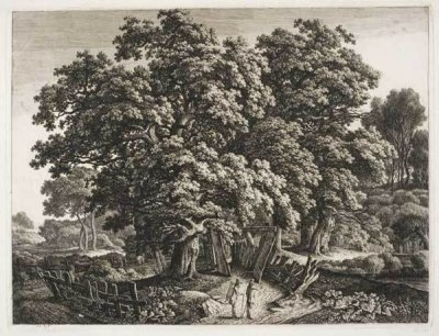 "Carl Wilhelm Kolbe the Elder, ""Large Oak Tree Enclosed by a Plank Fence,"" ca. 1802-4, etching with masked plate tone, 12 15/16 x 17 1/8 in. Copyright 2013 Philadelphia Museum of Art"