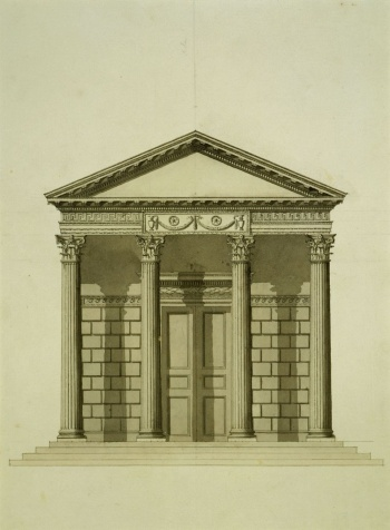 A design for a Corinthian Temple for Kew, c.1759 Pencil, pen and ink and wash RCIN 981419
