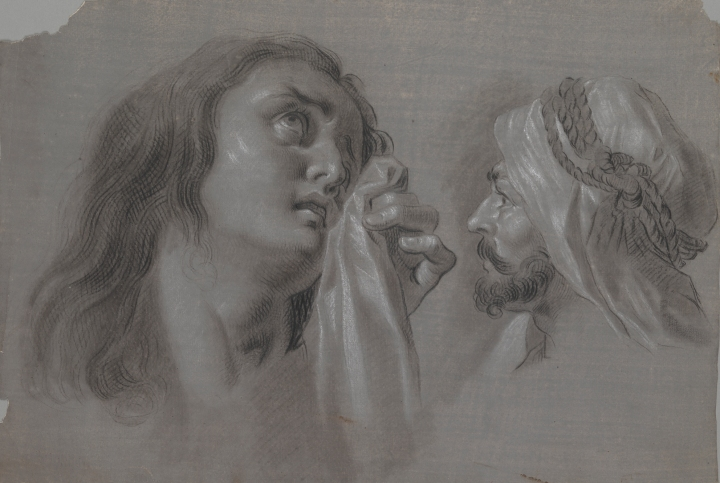 Zacarías González Velázquez (Spanish, 1763-1834), Mary Magdalene and Head of a Moor, 1793. Black chalk, wash and white chalk highlights on grey tinted paper. Meadows Museum, SMU, Dallas.