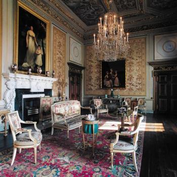 The White Drawing Room at Houghton Hall, with paintings by John Hoppner and George James (Photo: Nick McCann)
