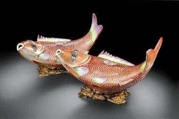 Pair of carp tureens. 1760-1780, Porcelain, Jingdezhen, China, with gilded bronze mounts, possibly Spain. Formerly the collection of the Ochoa de Olza family, Navarra Spain. Museum purchase, 2006.