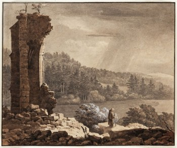 Johann Christoph Erhard (German, 1795-1822), A Monk Visiting Ruins, 1814, graphite and wash on wove paper. Crocker Art Museum, E. B. Crocker Collection, 1871.1020