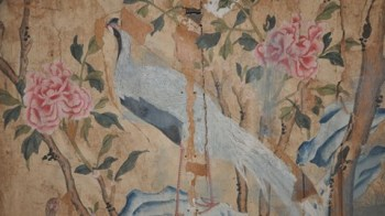 hinese white male pheasant on a rock amongst tree peonies; detail from Chinese wallpaper hung in 'His Grace's Bedchamber', April-May 1752 by Crompton & Spinnage