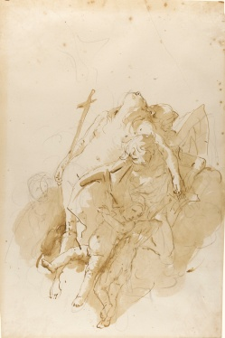 Lot 422: Giovanni Battista Tiepolo, The Assumption of Mary Magdalene, pen and brown ink and wash over black chalk (estimate: £30,000–40,000).