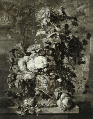 "Richard Earlom (1743–1822), ""Floral Still Life,"" after Jan van Huysum, mezzotint, 56 x 42 cm, Alte Galerie"