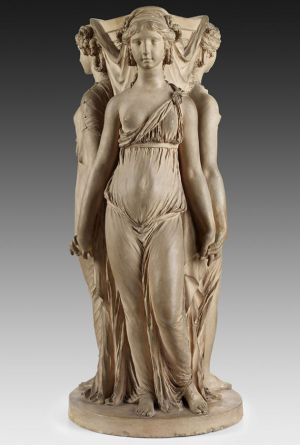 Claude Michel, called Clodion, Three Graces, early 1770s, terracotta, private collection; photo: Michael Bodycomb