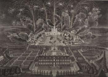 Johann August Corvinus nach Matthäus Daniel Pöppelmann (?), Feuerwerk auf der Elbe hinter dem Holländischen Palais, Radierung und Kupferstich