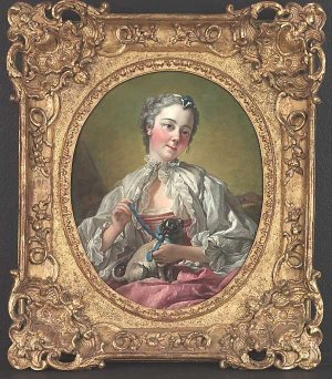 François Boucher A young lady holding a pug dog (presumed portrait of Madame Boucher) mid 1740s