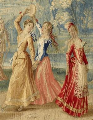 Peter Van den Hecke, The Arrival of Dancers at the Wedding of Camacho (detail), Brussels, ca. 1730s–40s. Tapestry, 123 1/4 x 218 5/8 inches. The Frick Collection, New York. Photo by Michael Bodycomb.