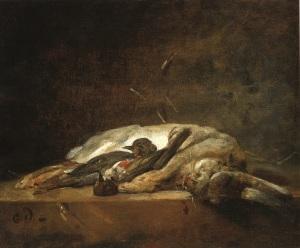 3Nature-morte-avec-lapin-et-grive-Jean-Sim+-«on-Chardin-huile-sur-toile-vers-1750-inv-65-71-1-C-Sylvie-Durand