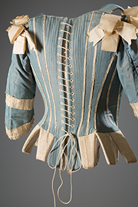 Corset (stay), silk, silk ribbon, whalebone, c. 1770, possibly Europe (NY: Museum at FIT)