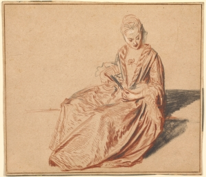 Jean- Antoine Watteau, Woman Seated with a Fan,  c. 1717 (Los Angeles: J. P. Getty Museum)