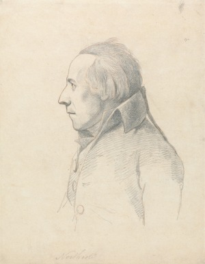William Daniell, after George Dance, James Northcote, between 1798 and 1819, graphite and red chalk on medium, slightly textured, cream wove paper mounted on moderately thick, moderately textured, beige laid paper (New Haven: Yale Center for British Art, Paul Mellon Collection)