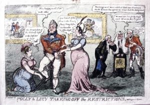 George Cruishank, Polly and Lucy Takeing off the Restrictions, 1812, Hertford House Historic Collection (2007.36).