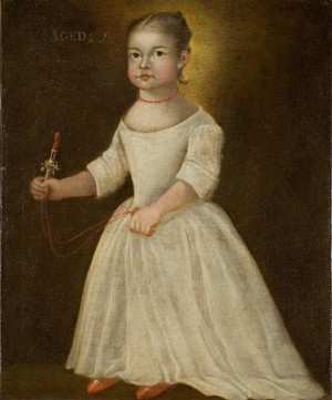Attributed to Joseph Badger, Portrait of a Child, oil on canvas, ca. 1750.