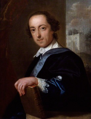Horace Walpole. Portrait by John Giles Eccardt, 1754. © National Portrait Gallery, London. Horace Walpole in 1754 with his hand on a volume from his library and the Gothicised Strawberry Hill in the background.