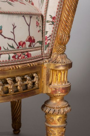 Jacques Gondoin and François II Foliot, Chair from the Pavillon du Rocher at the Petit Trianon; carved, gilded beech; 1781, 89 x 56 x 56 cm (Versailles, National Museum of the Palaces of Versailles and Trianon, Inv. V 5358)