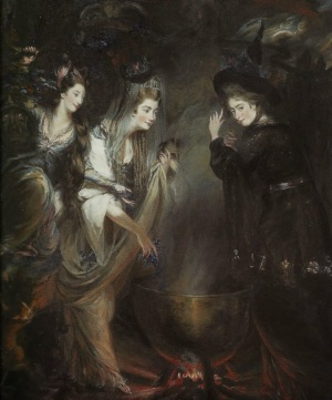 halloween The 3 Witches from Shakespeare's Macbeth Daniel Gardner 1775 Georgiana, Duchess of Devonshire,Elizabeth Lamb, Viscountess Melbourne sculptor Anne Seymour Damer