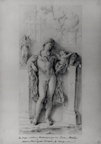 Antonio Maria Zanetti, Study of a relief decorated with a Hermaphrodite; in the Palazzo Colonna, c.1721. Image courtesy of The Trustees of the British Museum, used with permission.
