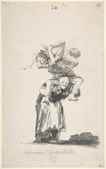 Goya, Nightmare; Witches and Old Women; Album (D), page 20, ca. 1819–23. Brush, black ink, and wash on Netherlandish laid paper (New York: Metropolitan Museum of Art, Rogers Fund, 1919)