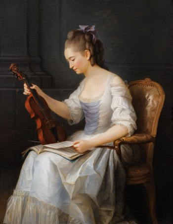 Anne Vallayer-Coster, Portrait of a Woman with Violin, 1773.