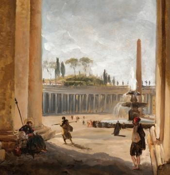 Hubert Robert, View of Saint Peter's Square in Rome through Bernini's Colonnade