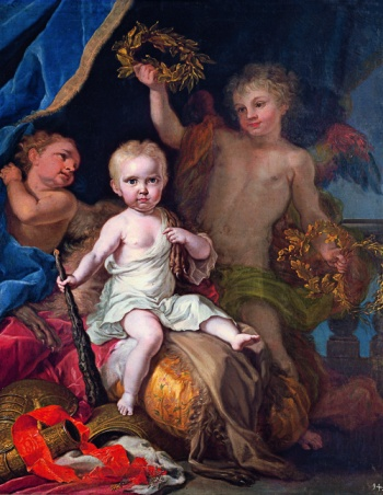 Giuseppe Bonito, Carlos Antonio de Borbón as the Child Hercules, 1748. Oil on canvas, 128.5 x 102.5 cm. El Pardo, Royal Palace, National Heritage.
