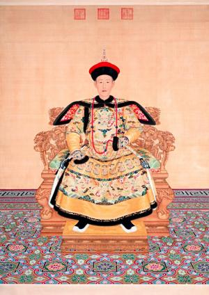 Giuseppe Castiglione,Portrait of Qianlong Emperor in Ceremonial Court Robe, 1736, coloured inks on silk, 238.5 x 179.2 cm (image and sheet) The Palace Museum, Beijing (Gu6464)