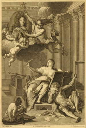 Frontispiece to Médailles sur les principaux évènements du règne de Louis le Grand (Medallic History of Louis the Great, 1702). Etching and engraving, 1723. Father Time lies defeated by the medallic history of Louis XIV which will last forever.